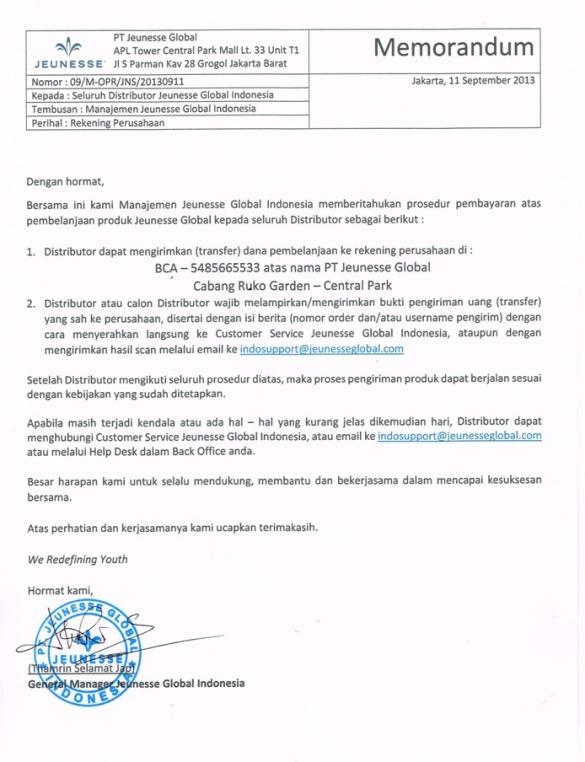 Rekening Resmi Terbaru Kantor Jeunesse Indonesia